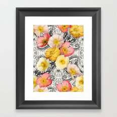 Collage of Poppies and Pattern Framed Art Print