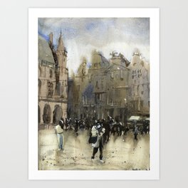 Grand Place of Brussels in downtown Brussels illuminated at night. Brussels artwork watercolor painting. Art Print