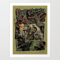the walking dead Art Prints featuring Walking Dead  by ZIMZONOWICZ