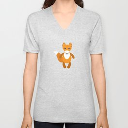 pattern with funny cute fox animal on a blue background Unisex V-Neck
