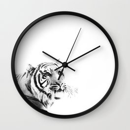 Tiger Black & White #1 #decor #art #society6 Wall Clock
