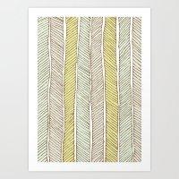 herringbone Art Prints featuring herringbone by wit & whistle