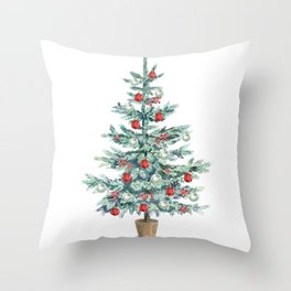 Christmas tree with red balls Throw Pillow