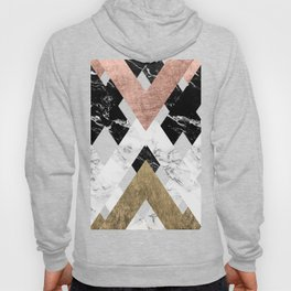 Modern geometric chevron black white marble rose gold foil gold triangles pattern Hoody