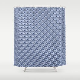 Navy Concentric Circle Pattern Shower Curtain