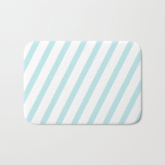 Diagonal stripes - turquoise fresh summer pattern Bath Mat