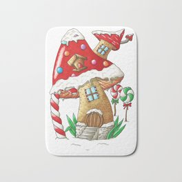 Mushroom gingerbread house Bath Mat