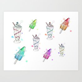 Ice-Lolly/Ice-Cream Mash Up Art Print