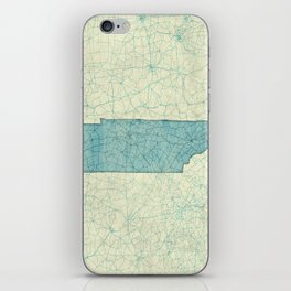 Tennessee State Map Blue Vintage iPhone Skin