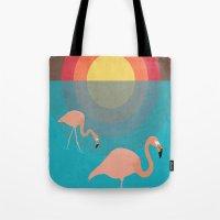 flamingos Tote Bags featuring Flamingos by Simon Alenius