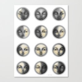 moon phases and romanticism Canvas Print