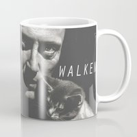 christopher walken Mugs featuring Christopher Walken / Cat by Earl of Grey