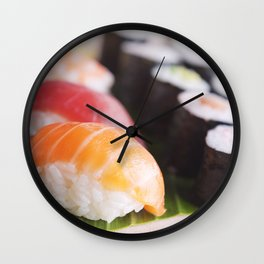 Close-up of various Japanese sushi, shallow depth of field Wall Clock