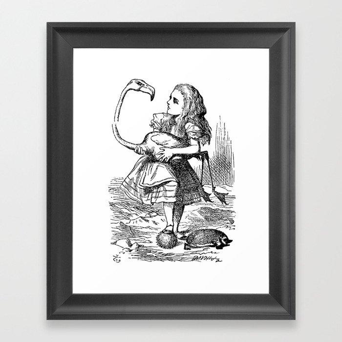 Vintage Alice in Wonderland flamingo croquet antique book drawing ...