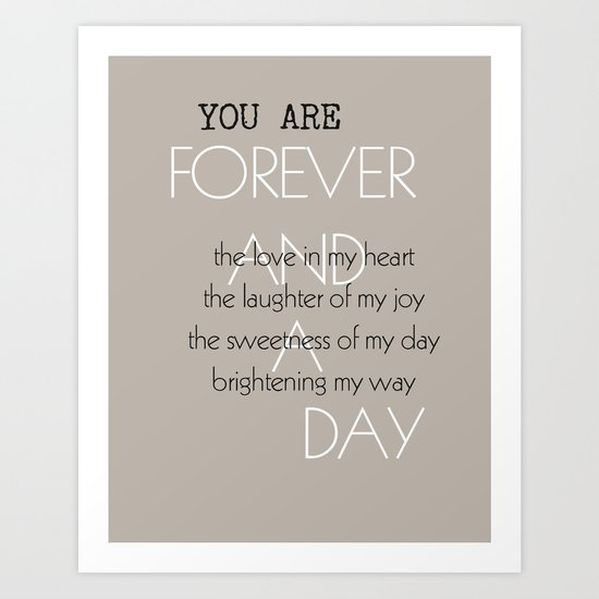Forever and A Day Poem Art Print