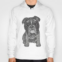 english bulldog Hoodies featuring  Inspired English Bulldog by DiAnne Ferrer