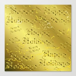 happy holiday Colorful design happy new year text in gold, festive, elegant gift Canvas Print