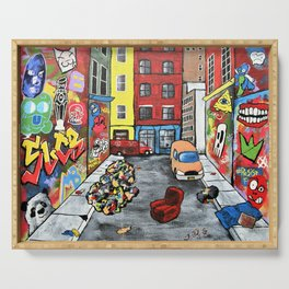 New York Alley by Mike Kraus - nyc art street graffiti new york condos apartments colorful decor Serving Tray