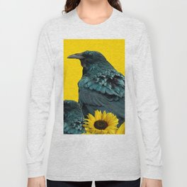 TWO CROW/RAVEN BIRD PORTRAITS & SUNFLOWERS GOLD  ART Long Sleeve T-shirt