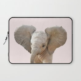 Baby Elephant With Pink Background, Baby Animals Art Print By Synplus Laptop Sleeve