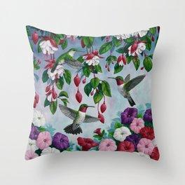 Hummingbirds in Fuchsia Flower Garden Throw Pillow