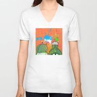 cartoons V-neck T-shirts featuring Cartoons and Cereal by Kerosene Bill