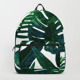 Tropical Nature Monstera Watercolor Painting, Botanical Jungle Dark Palm Illustration Backpack