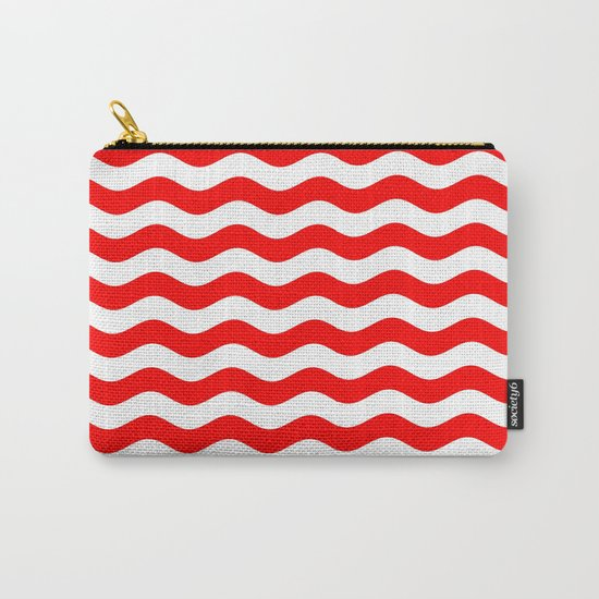 Wavy Stripes (Red/White) Carry-All Pouch