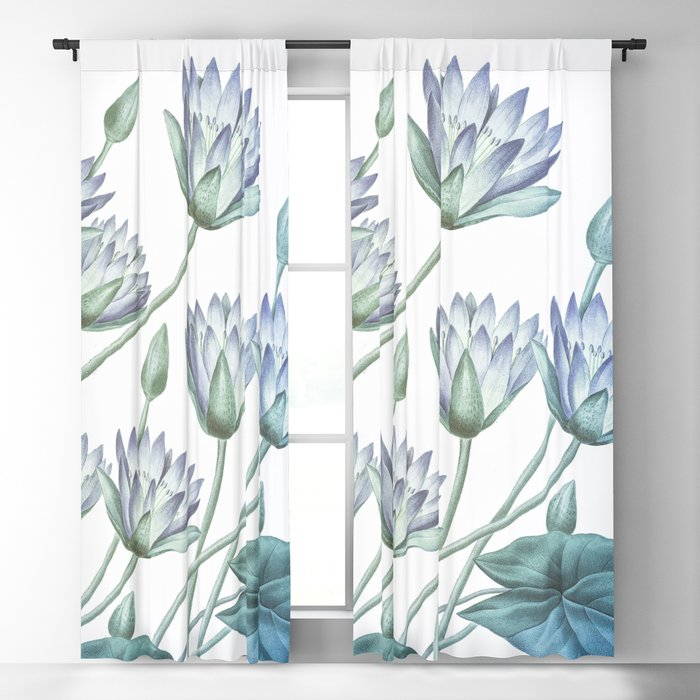 Water Lily Blue Blackout Curtain