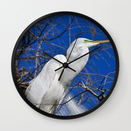 Great Egret on a Windy Day Wall Clock