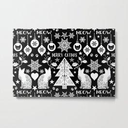 Black And White Merry Catmas Hygge Folk Art X-Mas Pattern Metal Print