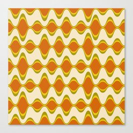 Retro Psychedelic Wavy Pattern in Orange, Yellow, Olive Canvas Print