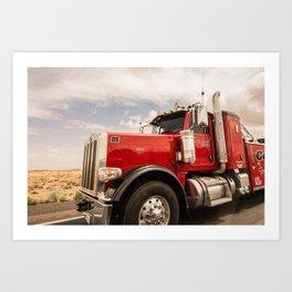 Red truck California Art Print