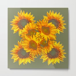 Golden Sunflowers on Putty Color  Art Metal Print