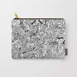 Lots of Bodies Doodle in Black and White Carry-All Pouch