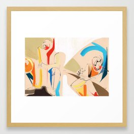 Jazz Groovy Musicians Playing Framed Art Print