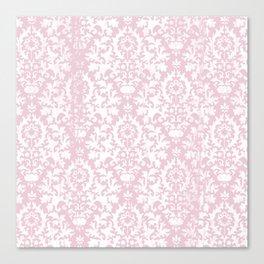 Vintage blush pink white grunge floral damask Canvas Print