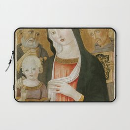 Benvenuto di Giovanni - Madonna and Child with Saint Jerome and Saint Bernardino of Siena Laptop Sleeve