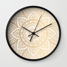 Gold Mandala Pattern Illustration Wall Clock