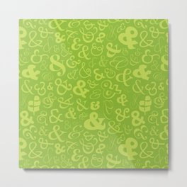 Ampersands - Green Metal Print