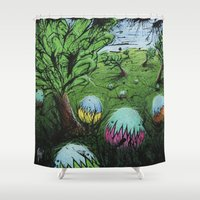 eggs Shower Curtains featuring Eggs by chris panila