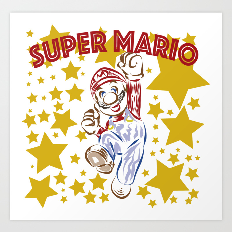 Super Mario Line Art Art Print By Jonnydeoli Society6