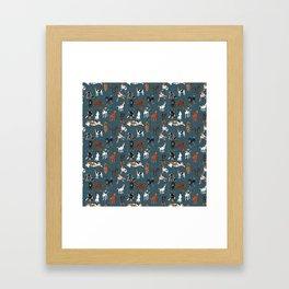 Coonhounds on Dark Teal Framed Art Print