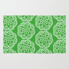 Green white lace floral Rug