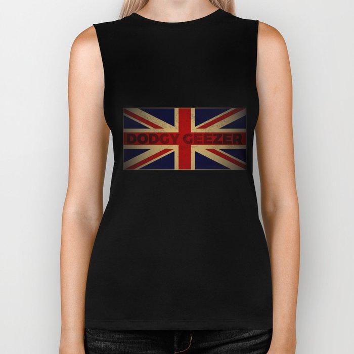 Funny British Slang Gift with Union Jack Flag | Dodgy Geezer Biker Tank