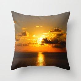 sunset on sea Throw Pillow