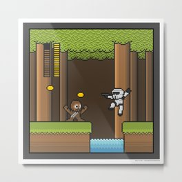 Mega Boss Battles - Chewie vs. Scout Trooper Metal Print
