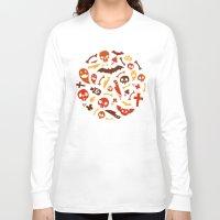orange pattern Long Sleeve T-shirts featuring Halloween Orange Pattern by Voysla