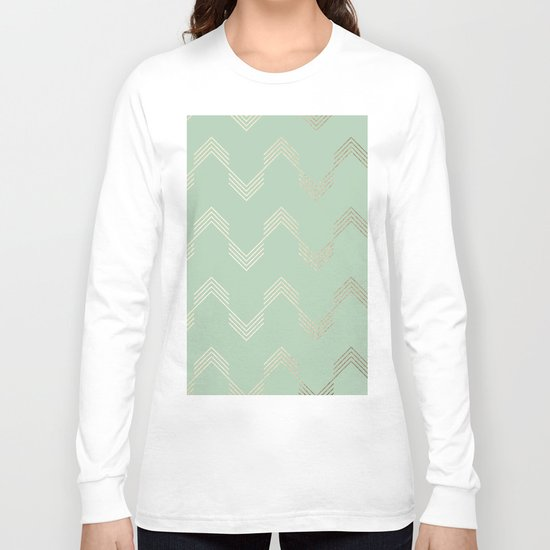 Simply Deconstructed Chevron in White Gold Sands and Pastel Cactus Green Long Sleeve T-shirt
