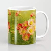 postcard Mugs featuring Vintage Postcard by Connie Goldman